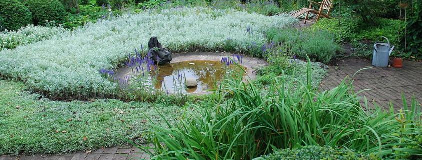 Ulla Molins trädgård. Bilden visar en damm omgiven av plattsättning och planteringar.