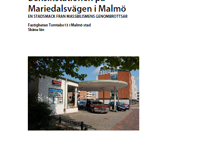 Framsidan byggnadsminnesutredningen av bensinstationen på Mariedalsvägen